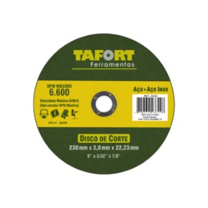 Disco De Corte Aço/Inox 230X2X22mm T41 - TAFORT