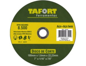 """Disco De Corte 7"""" Para Aço/Inox 180X1.6X22mm T41 - TAFORT"""