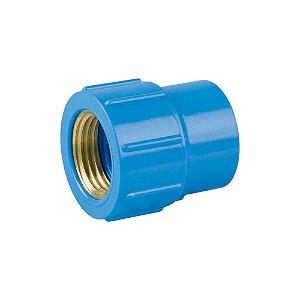 """Luva Azul Com Bucha Latão 25mm X 3/4"""" - PLASTUBOS"""