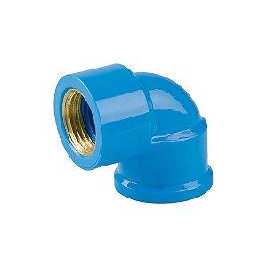 "Joelho 90º Azul Com Bucha Latão 25mm X 1/2"" Pct/24 - PLASTUBOS"