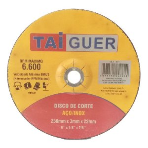 Disco De Corte Para Aço/Inox 230X3X22mm T42 - TAIGUER