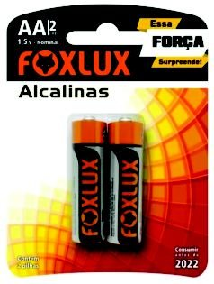 Pilha Alcalina Pequena AA  Blister C/2 - FOXLUX