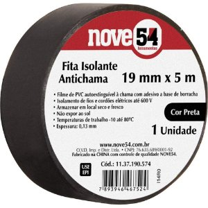 Fita Isolante 19mmx5M Preta - 954