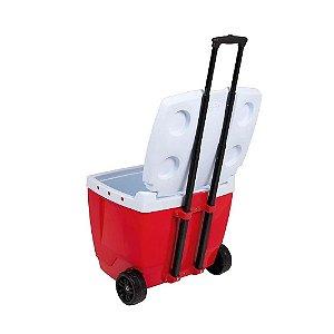 Caixa Térmica 42L Com Rodinha Vermelha - MOR