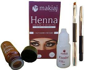 Kit Henna Makiaj Sobrancelha Castanho Escuro + Brinde Pincel