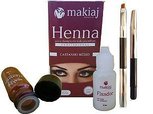 Henna Sobrancelha Profissional Makiaj +Pincel Castanho Médio