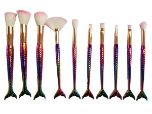 10 Kit pinceis maquiagem sereia Profissional Estojo Colorido