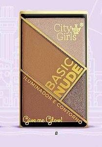 BASIC NUDE ILUMINADOR E CONTORNO - COR B / CITY GIRLS