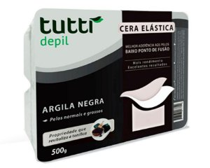CERA ELÁSTICA DEPILAÇÃO PROFISSIONAL ARGILA NEGRA 500G / TUTTI DEPIL