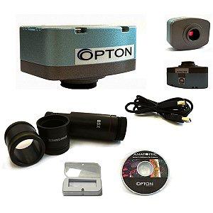 Câmera digital para Microscopio colorida 1.3MP com software, lente redução e lâmina padrão