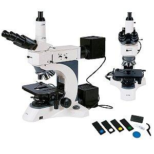 Microscópio Trinocular com Aumento 50x Até 1000x, Objetiva Planacromática Infinita.