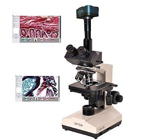 Microscópio Biológico Trinocular Aumento 40x até 1600x, Objetivas Acromáticas e Iluminação LED + Câmera Digital Colorida CMOS 1.3 MP