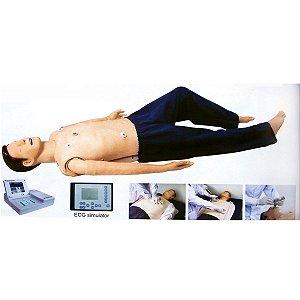 Manequim Simulador p/ Treinamento RCP, ECG, DEA e Intubação