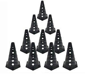 Cone Furado Demarcatório Black 10 Unid. Agilidade Funcional