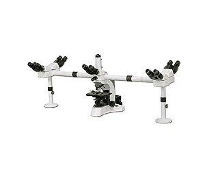 Microscópio Biológico Multi Visualização Ótica Infinita 5 cabeças até 1000x