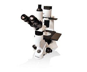 Microscópio Biológico Trinocular Invertido com Ótica Infinita e Contraste de Fases Lentes Planacromáticas