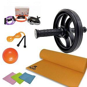 Kit Treinamento Funcional Roda+corda+tapete+faixa+bola+extensor