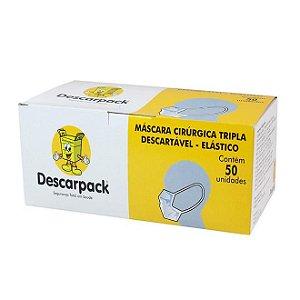 Máscara Cirúrgica Tripla Descartável Com Elástico - Cx 50 Un - Descarpack