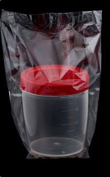 Coletor de Urina 80ml Tampa Vermelha Esteril Translucido Caixa c/ 500un
