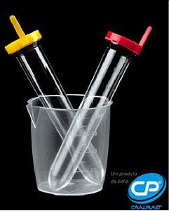 Kit Para Coleta de Urina 01 Frasco de Coleta + 2 Tubos 12ML Polistireno + 2 Tampas Pressão Externa Ama/Ver ESTÉRIL CX/900