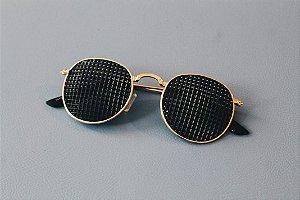 Óculos Terapêutico de Metal Oval Dourado
