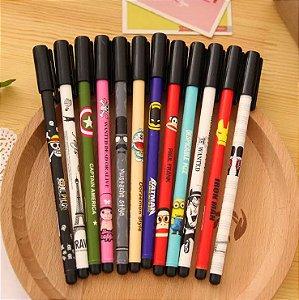 Kit 6 canetas desenhos animados