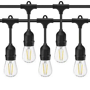 Cordão de Luzes Externo com Prolongador Varal Iluminação 8 Lâmpadas Soquete E27 Decoração Festa Casamento Gambiarra