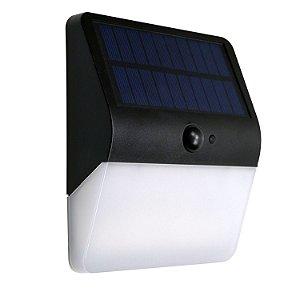 Luminária Solar Arandela abs com Sensor de Presença LED Branco Quente 3000K - 400 Lúmens