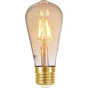 Lâmpada Retrô Filamento Vintage ST64 LED 4W Âmbar Autovolt