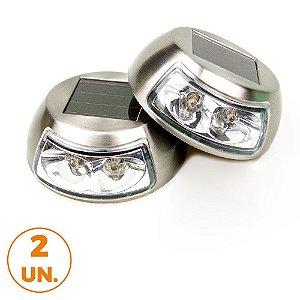 Kit com 2 - Luminária Solar de Jardim Balizadora Multiuso de Piso e Parede Arandela LED Branco Quente 3000K