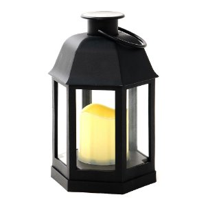 Lanterna Marroquina Lampião Preto Retro com Vela LED