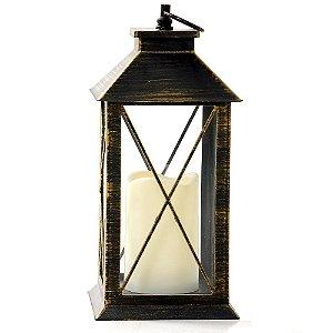 Lanterna Marroquina Grade Preta e Dourada Envelhecida com Vela LED