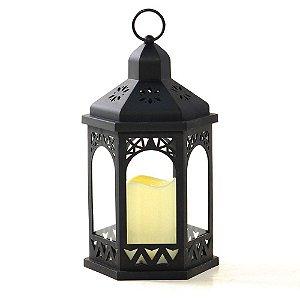 Lanterna Decorativa Coreto Grande com Vela LED