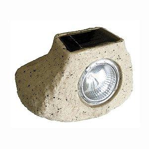 Luminária Solar Pedra Decorativa de Jardim LED Branco Frio 6500k