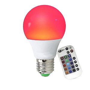 Lâmpada Smart Bulbo LED 9W RGB Colorido com Controle Remoto