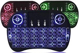 Controle Mini Teclado wireless Led Colorido Tvbox Android
