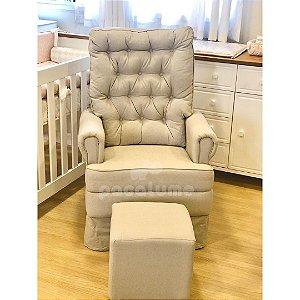 Poltrona de Amamentação Baby Comfort Balanço com Capitonê e Saia + Puff Cube em Linho Bege - Pclme
