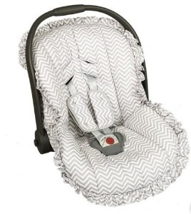 Capa Bebê Conforto com Protetor de Cinto e Babado  Chevron Cinza - Batistela