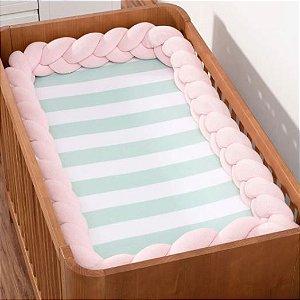Trança Protetora Para Berço e Cama Tricot Rosa Bebê - Pclme