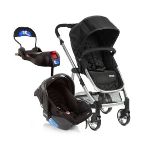 Kit Passeio Carrinho de Bebê, Bebê Conforto e Base Isofix EPIC LITE TS TRIO Onyx Preto - Infanti