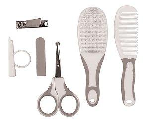 Acessório de Higiene KIT CUIDADOS BABY Escova, Pente, Lixa, Tesourinha e Cortador de Unha Cinza - Buba
