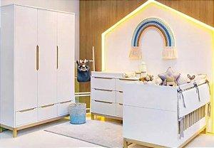 Dormitório Berço + Cômoda + Roupeiro COZY - Quater