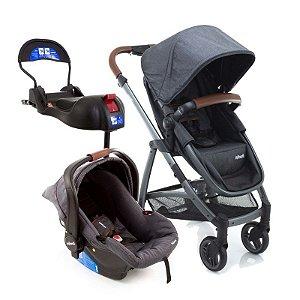 Kit Passeio Carrinho de Bebê, Bebê Conforto e Base Isofix EPIC LITE TS TRIO Grey Vintage Special Edition - Infanti