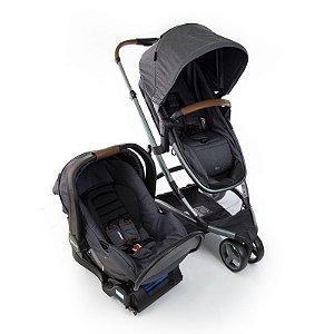 Kit Passeio Carrinho de Bebê, Bebê Conforto e Base Isofix SKY TRIO Grey Vintage - Infanti