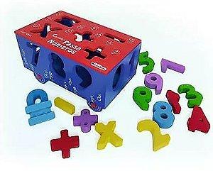 Brinquedo Carrinho Passa Números de Madeira - Carimbras