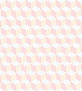 Papel de Parede Coleção Brincar Geométrico Rosa e Amarelo - Bobinex