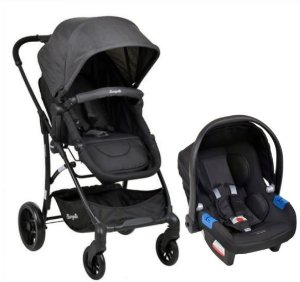 Carrinho de Bebê Travel System Convert com Bebê Conforto Touring Evolution Dark Grey - Burigotto
