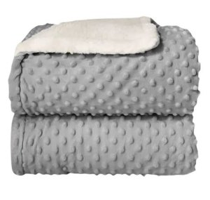 Cobertor Plush com Sherpa Dots Cinza - Laço Bebê