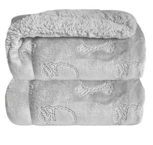 Cobertor Plush com Sherpa Ferrete Cinza - Laço Bebê