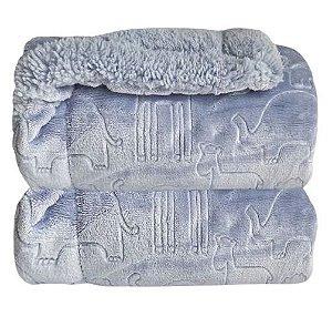 Cobertor Plush com Sherpa Ferrete Azul - Laço Bebê